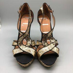 Glitter encrusted platform stiletto heels
